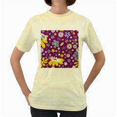 Floral Flowers Women s Yellow T Shirt