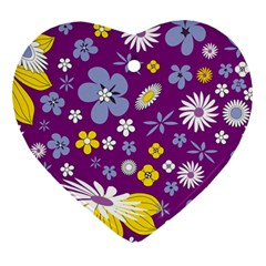 Floral Flowers Heart Ornament (two Sides)
