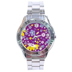 Floral Flowers Stainless Steel Analogue Watch