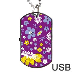 Floral Flowers Dog Tag Usb Flash (two Sides)