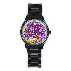 Floral Flowers Stainless Steel Round Watch