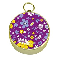 Floral Flowers Gold Compasses
