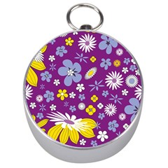 Floral Flowers Silver Compasses