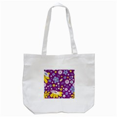 Floral Flowers Tote Bag (white)