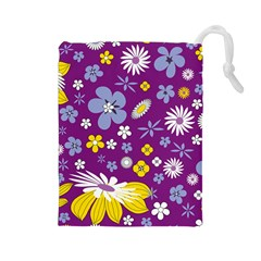 Floral Flowers Drawstring Pouches (large)