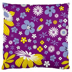 Floral Flowers Large Flano Cushion Case (two Sides)