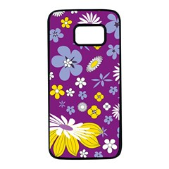 Floral Flowers Samsung Galaxy S7 Black Seamless Case