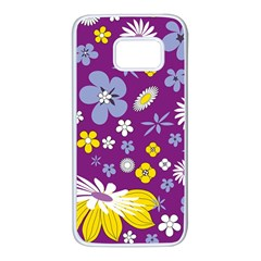 Floral Flowers Samsung Galaxy S7 White Seamless Case