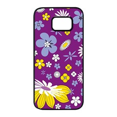 Floral Flowers Samsung Galaxy S7 Edge Black Seamless Case