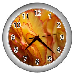 Flowers Leaves Leaf Floral Summer Wall Clocks (silver)