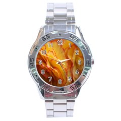 Flowers Leaves Leaf Floral Summer Stainless Steel Analogue Watch