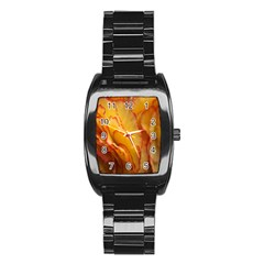 Flowers Leaves Leaf Floral Summer Stainless Steel Barrel Watch