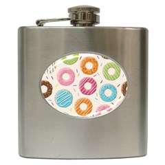 Colored Doughnuts Pattern Hip Flask (6 Oz)
