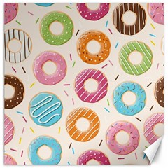 Colored Doughnuts Pattern Canvas 16  X 16