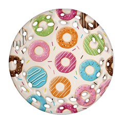 Colored Doughnuts Pattern Round Filigree Ornament (two Sides)