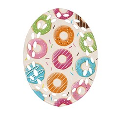 Colored Doughnuts Pattern Oval Filigree Ornament (two Sides)