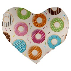 Colored Doughnuts Pattern Large 19  Premium Flano Heart Shape Cushions