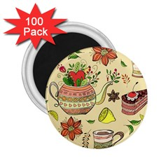 Colored Afternoon Tea Pattern 2 25  Magnets (100 Pack)