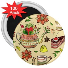 Colored Afternoon Tea Pattern 3  Magnets (100 Pack)