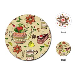 Colored Afternoon Tea Pattern Playing Cards (round)