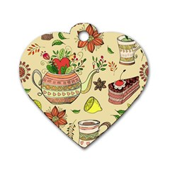 Colored Afternoon Tea Pattern Dog Tag Heart (one Side)