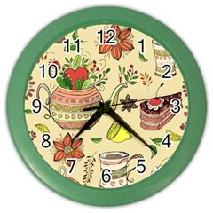 Colored Afternoon Tea Pattern Color Wall Clocks