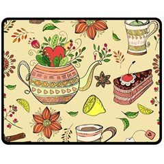 Colored Afternoon Tea Pattern Fleece Blanket (medium)