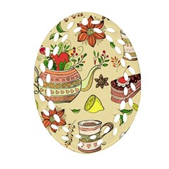 Colored Afternoon Tea Pattern Oval Filigree Ornament (two Sides)