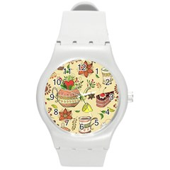 Colored Afternoon Tea Pattern Round Plastic Sport Watch (m)
