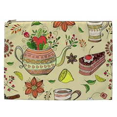 Colored Afternoon Tea Pattern Cosmetic Bag (xxl)