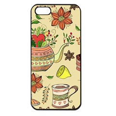 Colored Afternoon Tea Pattern Apple Iphone 5 Seamless Case (black)