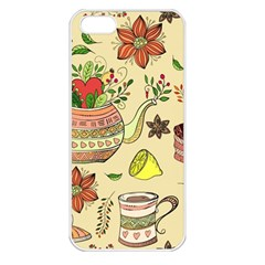 Colored Afternoon Tea Pattern Apple Iphone 5 Seamless Case (white)
