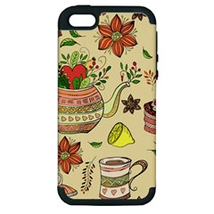 Colored Afternoon Tea Pattern Apple Iphone 5 Hardshell Case (pc+silicone)