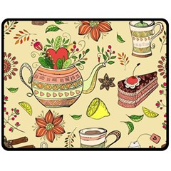 Colored Afternoon Tea Pattern Double Sided Fleece Blanket (medium)