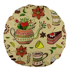 Colored Afternoon Tea Pattern Large 18  Premium Flano Round Cushions