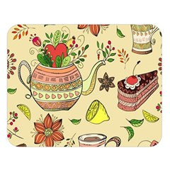 Colored Afternoon Tea Pattern Double Sided Flano Blanket (large)