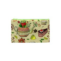 Colored Afternoon Tea Pattern Cosmetic Bag (xs)