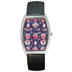 Afternoon Tea And Sweets Barrel Style Metal Watch