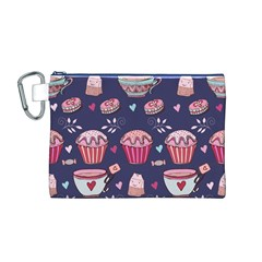 Afternoon Tea And Sweets Canvas Cosmetic Bag (m)