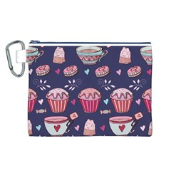 Afternoon Tea And Sweets Canvas Cosmetic Bag (l)