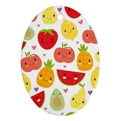 Happy Fruits Pattern Ornament (oval)