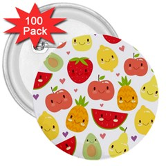 Happy Fruits Pattern 3  Buttons (100 Pack)