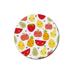 Happy Fruits Pattern Rubber Round Coaster (4 Pack)