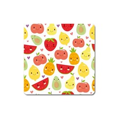 Happy Fruits Pattern Square Magnet