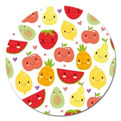 Happy Fruits Pattern Magnet 5  (round)