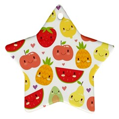 Happy Fruits Pattern Star Ornament (two Sides)