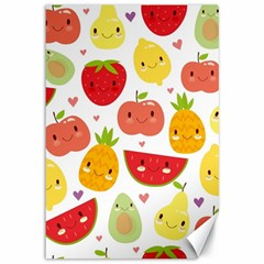 Happy Fruits Pattern Canvas 12  X 18