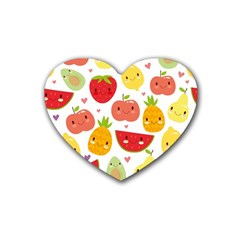 Happy Fruits Pattern Heart Coaster (4 Pack)