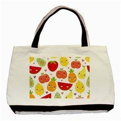Happy Fruits Pattern Basic Tote Bag (two Sides)