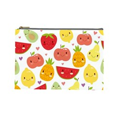 Happy Fruits Pattern Cosmetic Bag (large)